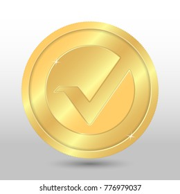 Gold vertcoin coin. Vector crypto currency illustration on a gray background