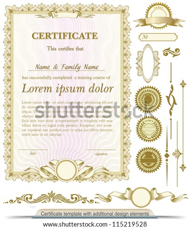Gold Vertical Certificate Template Additional Design Stock Vector
