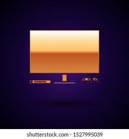 Gold Video game console icon isolated on dark blue background. Game console with joystick and lcd television.  Vector Illustration