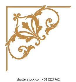 Gold vintage baroque corner ornament retro pattern antique style acanthus. Decorative design element filigree calligraphy vector. You can use for wedding decoration of greeting card and laser cutting.