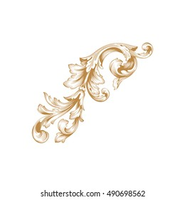 Gold vintage baroque element ornament. Retro pattern antique style acanthus. Decorative design element filigree calligraphy vector.