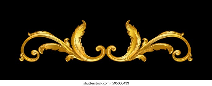 gold vintage baroque frame scroll