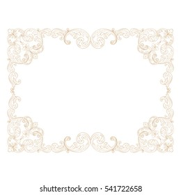 Gold vintage baroque ornament retro pattern antique style acanthus. Decorative design element filigree calligraphy vector. You can use for wedding decoration of greeting card and laser cutting.