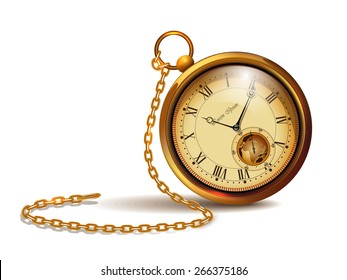 Gold vintage clock with roman numerals and chains.