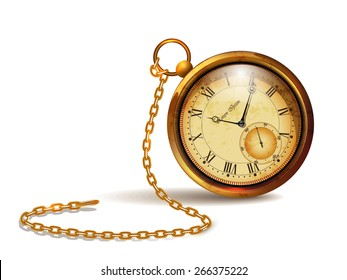 Gold vintage clock with roman numerals and chains