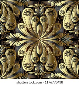 Gold vintage floral 3d vector seamless pattern. Abstract ornamental textured Damask background. Hand drawn ornate paisley flowers. Decorative modern ornament in ethnic style. Endless surface texture