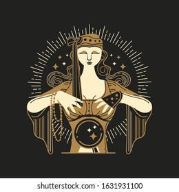 Gold Vintage Fortune Teller Vector Illustration