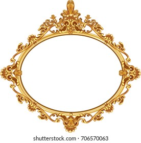 Gold vintage frame isolated on white background.illustration