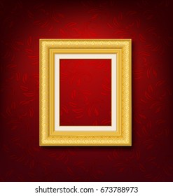 gold vintage frame on red wall