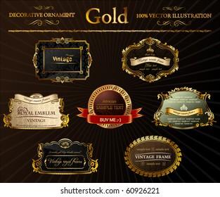 Gold vintage frames ornament. Calligraphic elements set. Vector black decor labels. Black flourish border for sticker. Royal Elegant book Red, yellow ribbon on retro background