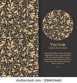 Gold vintage greeting card on a black background. Luxury ornament template. Mandala. Great for invitation, flyer, menu, brochure, postcard, wallpaper, decoration, or any desired idea.
