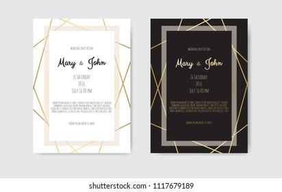 Gold vintage greeting card on a black background