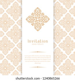 Gold vintage greeting card on white background, invitation design with ornaments for wedding, marriage, bridal, birthday, Valentine's day. Luxury vector ornament template.