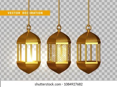 Gold vintage luminous lanterns. Arabic shining lamps. Isolated hanging realistic lamps. Effects of transparent vector background