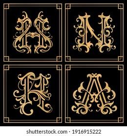 gold vintage typogrephy monogram logo