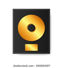 Gold vinyl in frame on wall. Collection disc, template design element.