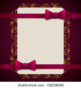 Gold and violet vintage greeting card template with bow and ribbon. Vector wedding invitation design. Anniversary template design for any celebration. Marriage, birthday, christmas, baby shower flyer.