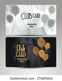 Gold VIP cards with air balloon on the textured background