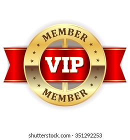 Gold vip member rosette with red ribbon on white background