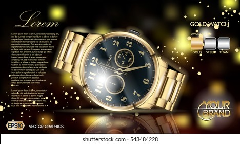 Gold watch mock up. Exclusive highest quality bracelet with black dial. Elegant fashioned accessory. Sparkling background, Place for text.  3D Vector illustration