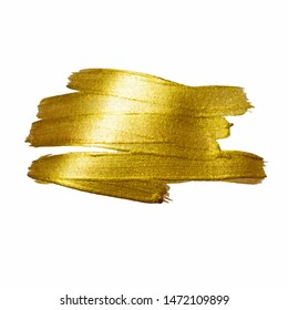 Gold watercolor texture paint stain abstract illustration. Shining brush stroke for you amazing design project