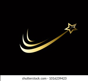 gold wave Logo Template. swoosh with star vector design