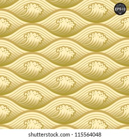 Gold waves pattern, Thai traditional art. Vector
