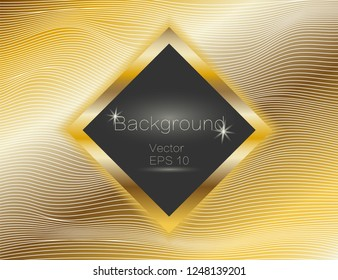 Gold wavy, lines luxury. Vector texture gold stripes background, with dark square plate. The winding of the strip. Rectangle panel with space for text.