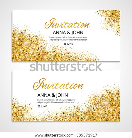 gold wedding glitter invitation weddings background stock vector