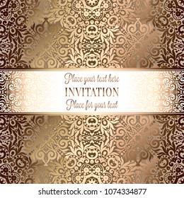 Antique Baroque Wedding Invitation Gold On Image Vectorielle De