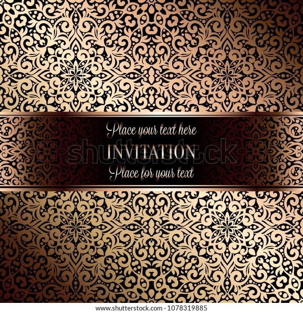 Gold Wedding Invitation Card Template Design Stock Vector