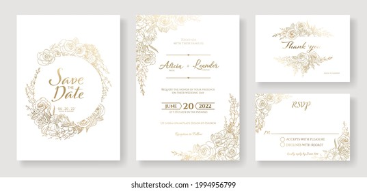 Gold Wedding Invitation, save the date, thank you, rsvp card Design template. Vector. winter flower, Rose, leaves, Wax flower