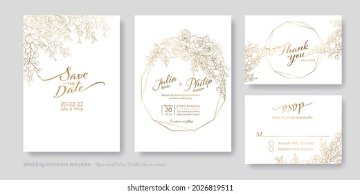 Gold Wedding Invitation, save the date, thank you, rsvp card Design template. Vector. Rose, silver dollar, olive leaves, Wax flower, orchids.