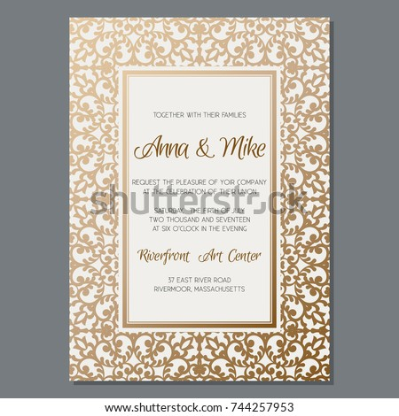 gold wedding invitation template vintage style stock vector royalty