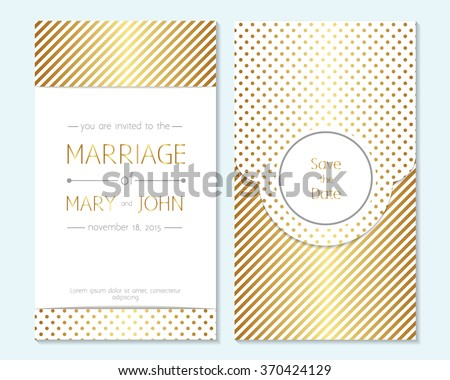gold wedding invitation thank you card stock vector royalty free