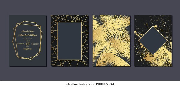 Gold wedding invitation with tropical leaves.  Luxury wedding invitation cards with gold marble texture and geometric pattern vector design template.