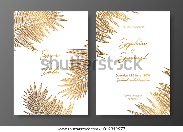 Gold Wedding Invitation Tropical Leaves Vector Stock Vector Royalty Free 1019312977 Pikbest have found 363 free leaf invitation templates could be used for poster,flyer,card and brochure. https www shutterstock com image vector gold wedding invitation tropical leaves vector 1019312977