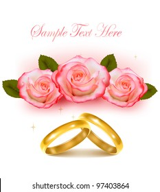 Gold wedding rings in front of three pink roses. Vector.