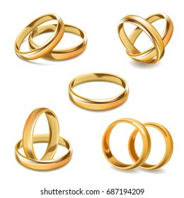 Gold wedding rings pair vector 3D realistic icons set