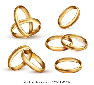 Gold wedding rings set, ceremony gift symbol. Wedding band, finger ring indicates wearer is married. Vector realistic illustration isolated on white background