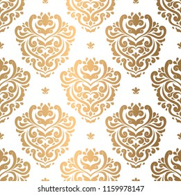 Gold and white damask vector seamless pattern, wallpaper. Elegant classic texture. Luxury ornament. Royal, Victorian, Baroque elements. Great for fabric and textile, wallpaper, or any desired idea.