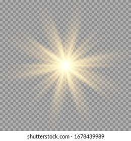 Gold or white glowing light burst explosion transparent. Vector illustration for cool effect decoration with ray sparkles. Bright star. Transparent shine gradient glitter, bright flare. Glare texture
