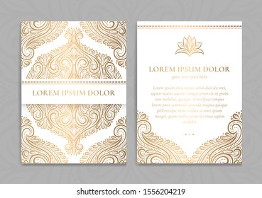 Gold and white luxury invitation card design. Vintage ornament template. Can be used for background and wallpaper. Elegant and classic vector elements great for decoration.