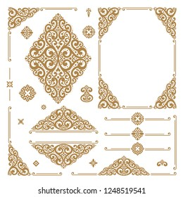 Gold and white luxury vector set of vintage elements. Elegant, classic pattern. Great for logo, monogram, invitation, flyer, menu, brochure, emblem, packaging, background or any desired idea.