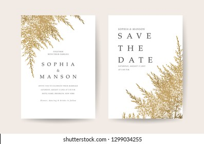 Gold and white marble wedding invite card with greenery floral and golden border texture and save the date text style vector.