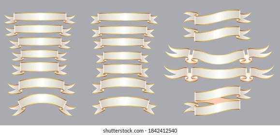 Gold and White Ribbons in different Shapes