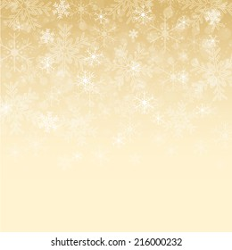 Gold and white snowflake background
