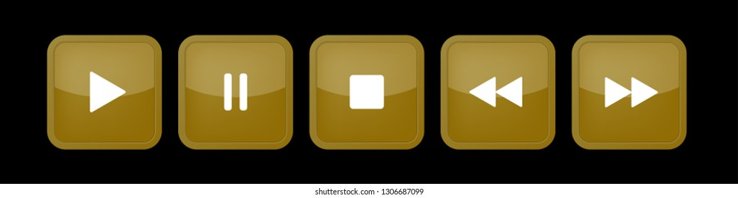 gold, white square music control buttons set - five icons with shadows in front of a black background