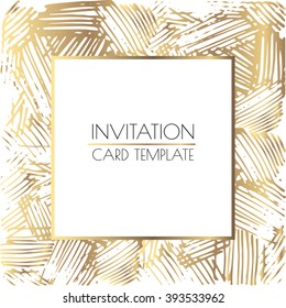 Gold and white square wedding card. Invitation layout. EPS 10 vector illustration.