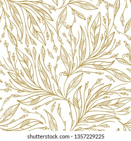 Gold and white vector leaf seamless pattern. Vintage ornament. Paisley elements. Great for fabric, invitation, background, wallpaper, decoration or any desired idea.